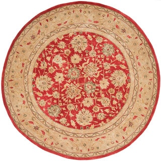 Handmade Mahal Ancestry Red/ Ivory Wool Rug (8' Round)