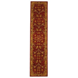 Handmade Hereditary Burgundy/ Gold Wool Runner (2'3 x 8')