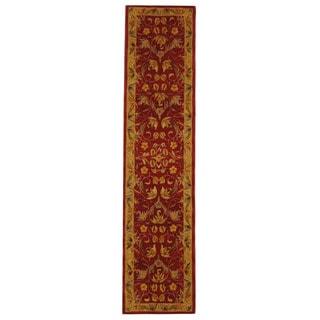 Handmade Hereditary Burgundy/ Gold Wool Runner (2'3 x 8')