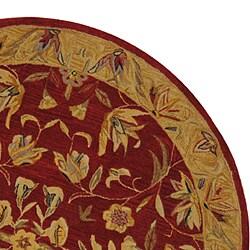 Handmade Hereditary Burgundy/ Gold Wool Rug (4' Round)