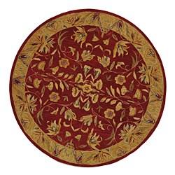 Safavieh Handmade Hereditary Burgundy/ Gold Wool Rug (4' Round)