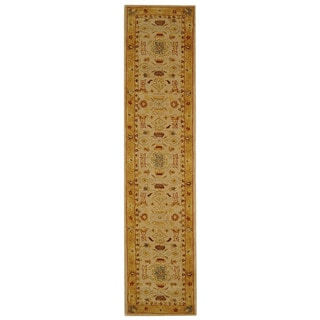 Handmade Tribal Ivory/ Gold Wool Runner (2'3 x 8')