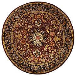 Safavieh Handmade Classic Kerman Burgundy/ Navy Wool Rug (8' Round)