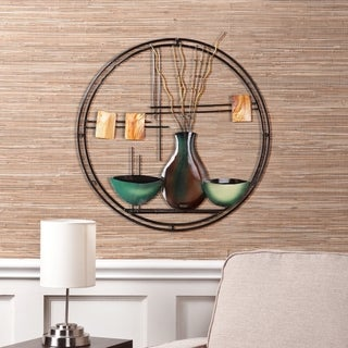 Copper Grove Bugleweed Circular Metal Wall Art