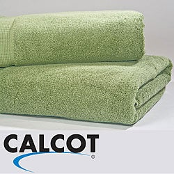Calcot Supima Zero Twist Foldover Edging Cotton Bath Sheets (Set of 2)