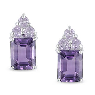 Miadora Sterling Silver Amethyst and Rose de France Earrings