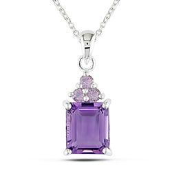 Miadora Sterling Silver Amethyst and Rose de France Necklace