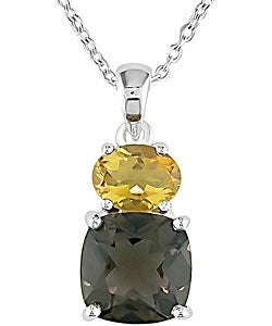 Miadora Sterling Silver Smokey Quartz and Citrine Necklace