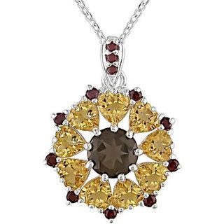 Miadora Silver Smokey Quartz/ Citrine/ Garnet Necklace