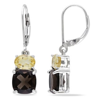 Miadora Sterling Silver Smokey Quartz and Citrine Earrings