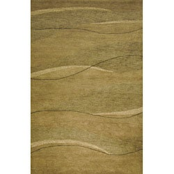 Hand-tufted Waves Green Wool Rug (2' x 4')