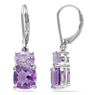Miadora Silver Amethyst and Rose de France Earrings