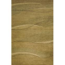 Hand-tufted Waves Green Wool Rug (2' x 7'6)