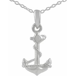 Tressa Sterling Silver Plain Anchor Charm Necklace