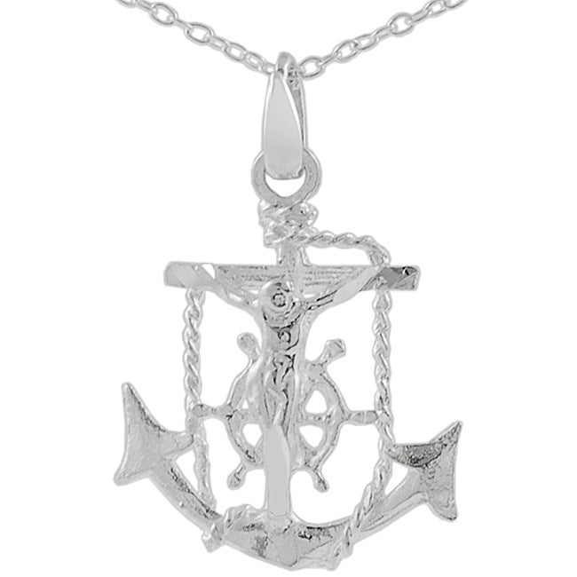 Journee Collection Sterling Silver Anchor/ Jesus/ Cross Necklace