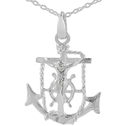 Tressa Sterling Silver Anchor/ Jesus/ Cross Necklace