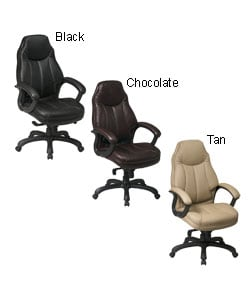 Office Star High-Back Faux-Leather Executive Chair with Lumbar Support