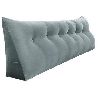 WOWMAX Bed Rest Wedge Bolster Back Support Reading Pillow Velvet Grey