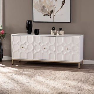 Strick & Bolton Gibbfield Contemporary White Wood Accent Cabinet