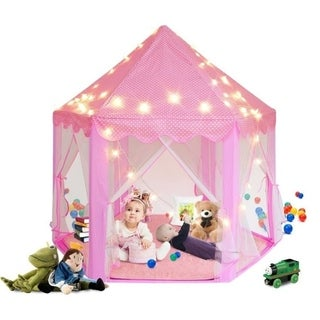 "55""x 53"" Princess Castle Play Tent for Girls Playhouse with LED Star String Lights(Pink)"