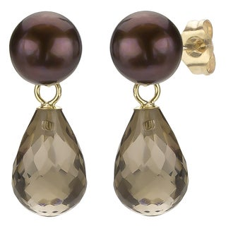 DaVonna 14k Gold Brown FW Pearl and Smokey Quartz Drop Earrings