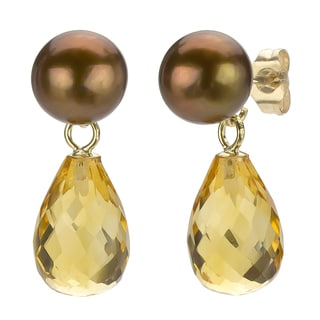 DaVonna 14k Gold Brown FW Pearl and Citrine Drop Earrings (6-6.5 mm)