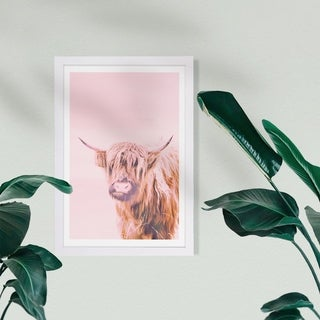 Wynwood Studio Animals Framed Wall Art Prints 'A Highland Cow' Farm Animals Home Décor - Pink, Brown - 13 x 19