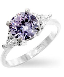 Kate Bissett Sterling Silver Round Lavender CZ Ring