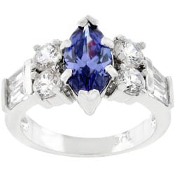 Kate Bissett Silvertone Marquise-cut Blue CZ Ring