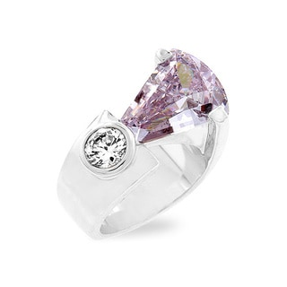 Kate Bissett Silvertone Lavender CZ Fashion Ring