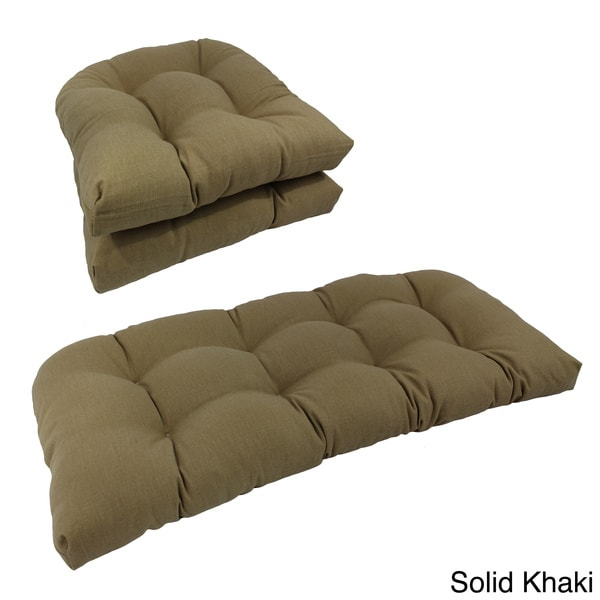 blazing needles indoor wicker settee cushions 11170044 overstock