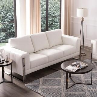 "Strick & Bolton Norfolk White Leather Sofa - 89""W x 39""D x 36""H"