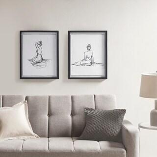 Madison Park Feminine Figures Black/ White Deckle Edge Sketch 2 Piece Framed Wall Art Set