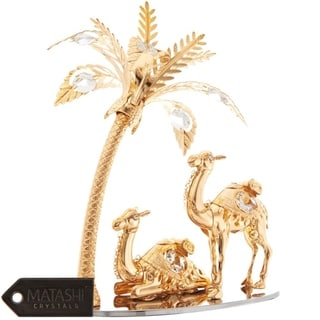 Matashi Home Decorative Tabletop Showpiece 24K Gold Plated Crystal Studded Camels and Palm Tree Ornament