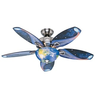 "Hunter 48"" Discovery Brushed Nickel Ceiling Fan w/ LED Light, Pull Chain"