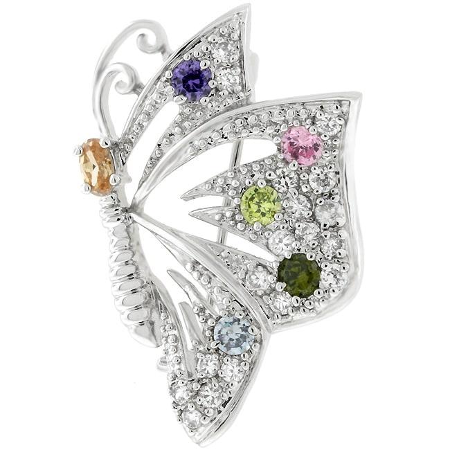 Kate Bissett Silvertone Multicolored Cubic Zirconia Butterfly Pin
