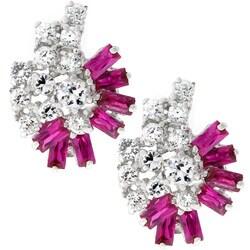 Kate Bissett Silvertone Cubic Zirconia Cluster Earrings