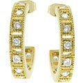 Kate Bissett Goldtone Cubic Zirconia Half Moon Earrings