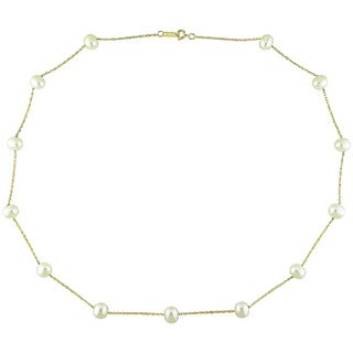 Miadora 10k Yellow Gold White Cultured FW Pearl Necklace (5.5-6mm)