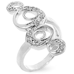 Kate Bissett Silvertone Cipher Moon Cubic Zirconia Ring