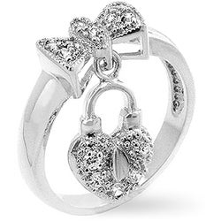 Kate Bissett Silvertone Bow Tie Dangle Heart CZ Ring