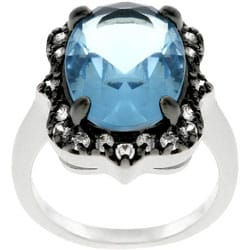 Kate Bissett Silvertone Antique-inspired Oval CZ Ring