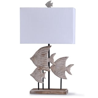 Rona Weathered Beige and Wood Carved Fishes Table Lamp with a White Rectangle Shade