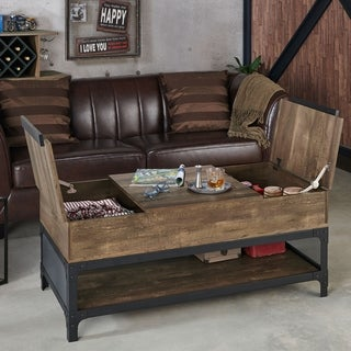 Furniture of America Domy Industrial Reclaimed Oak Lift-top Coffee Table