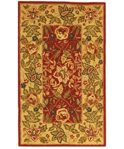 Handmade Boitanical Red/ Ivory Wool Rug (2'9 x 4'9)