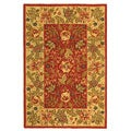 Handmade Boitanical Red/ Ivory Wool Rug (3'9 x 5'9)