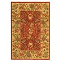 Handmade Boitanical Red/ Ivory Wool Rug (6' x 9')