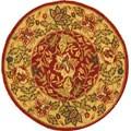 Handmade Boitanical Red/ Ivory Wool Rug (3' Round)