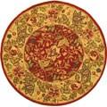 Handmade Boitanical Red/ Ivory Wool Rug (4' Round)