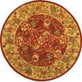 Safavieh Handmade Boitanical Red/ Ivory Wool Rug (8' Round)
